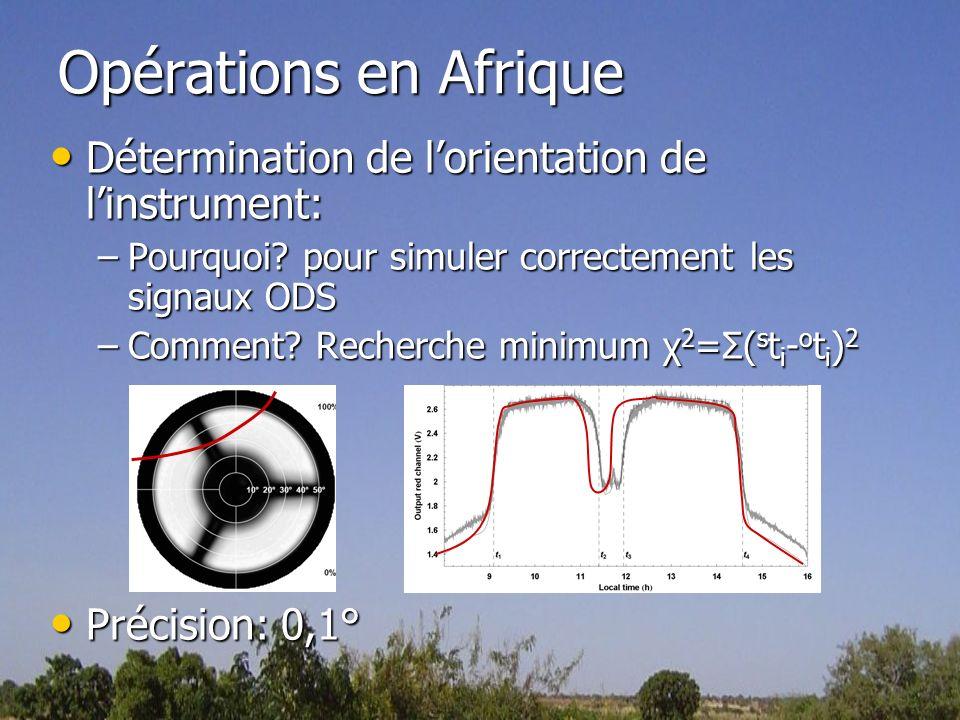 Opérations en Afrique Détermination de lorientation de linstrument: Détermination de lorientation de linstrument: –Pourquoi? pour simuler correctement
