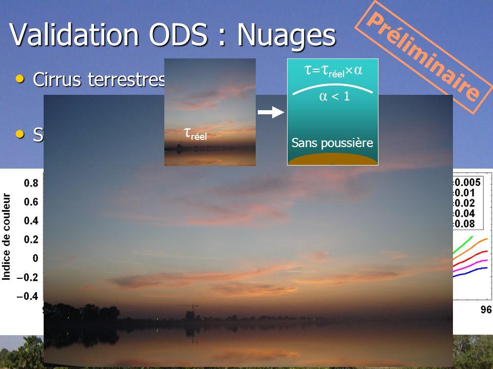 Validation ODS : Nuages Cirrus terrestres Cirrus terrestres Simulation Simulation Préliminaire Rouge Bleu τ réel τ = τ réel × α Sans poussière α < 1