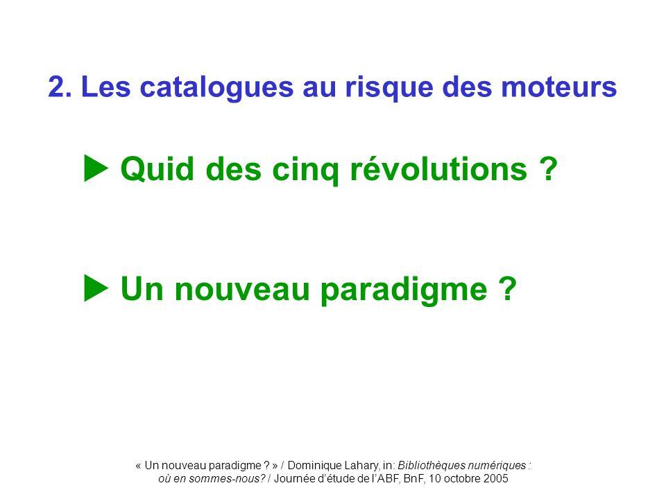 « Un nouveau paradigme ? » / Dominique Lahary, in: Bibliothèques numériques : où en sommes-nous? / Journée détude de lABF, BnF, 10 octobre 2005 2. Les