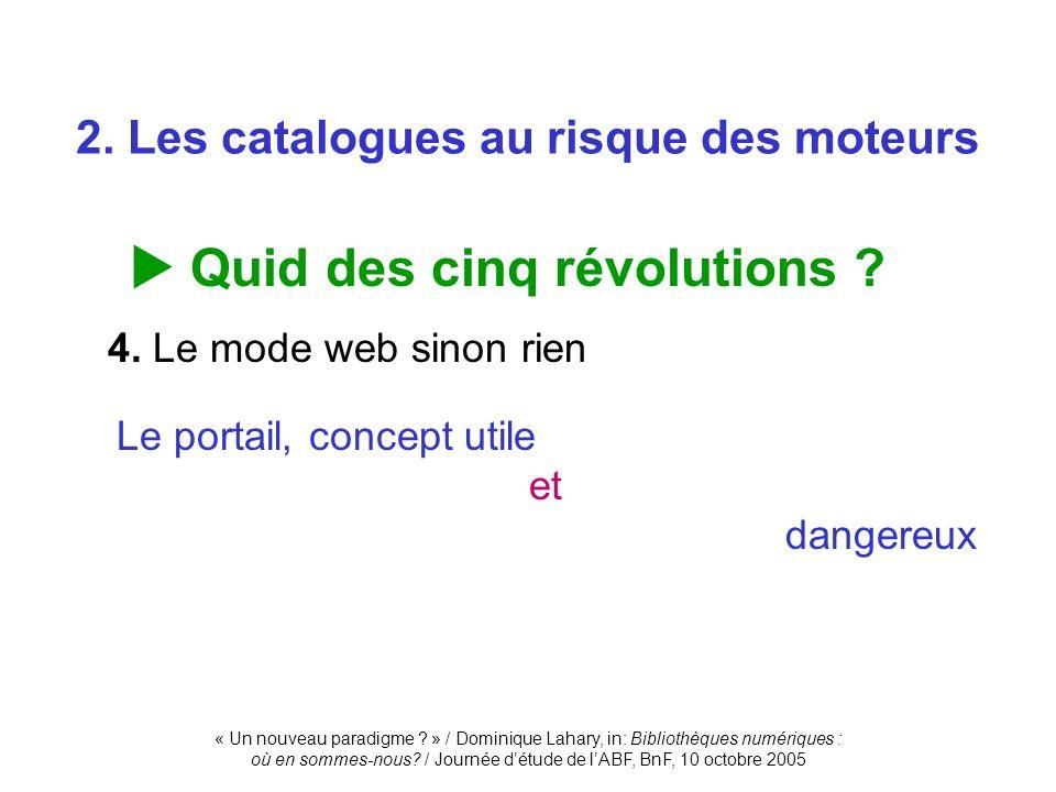 « Un nouveau paradigme ? » / Dominique Lahary, in: Bibliothèques numériques : où en sommes-nous? / Journée détude de lABF, BnF, 10 octobre 2005 Quid d