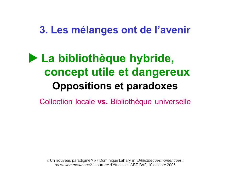 « Un nouveau paradigme ? » / Dominique Lahary, in: Bibliothèques numériques : où en sommes-nous? / Journée détude de lABF, BnF, 10 octobre 2005 3. Les