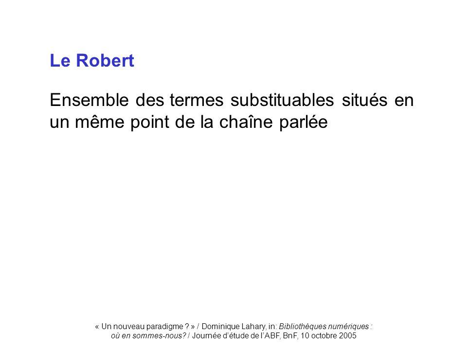 « Un nouveau paradigme ? » / Dominique Lahary, in: Bibliothèques numériques : où en sommes-nous? / Journée détude de lABF, BnF, 10 octobre 2005 Le Rob