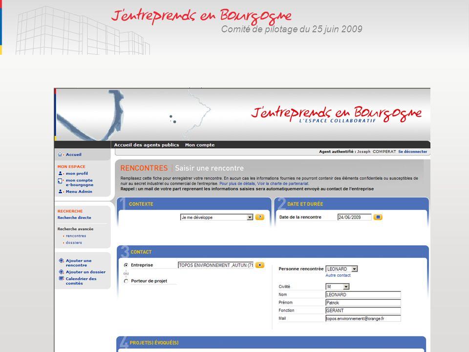 Comité de pilotage du 25 juin 2009