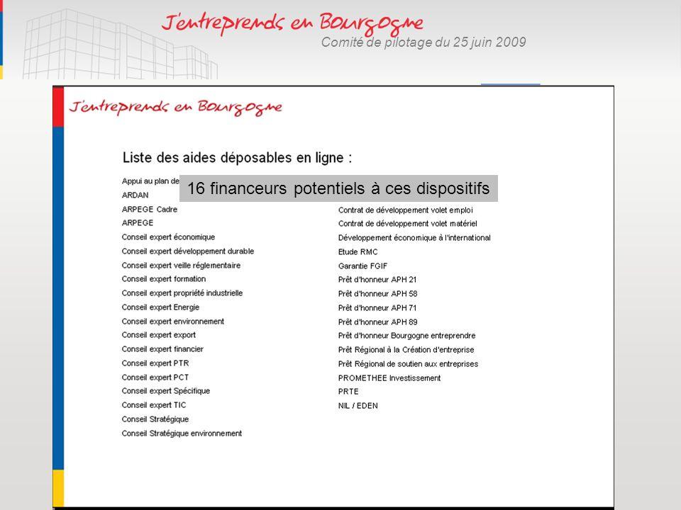 Comité de pilotage du 25 juin 2009 Dématérialisation des procédures 2007 11 dispositifs 2008 24 dispositifs 2009 40 dispositifs 16 financeurs potentie