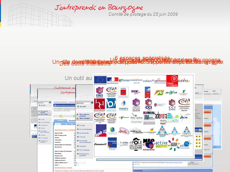 Comité de pilotage du 25 juin 2009 Un outil au service des entreprises : Un site de référence collectif … 6 espaces spécialisés Des outils interactifs