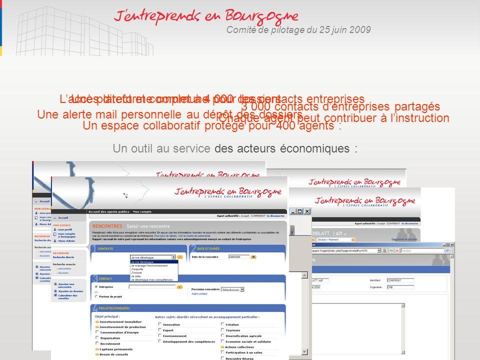 Comité de pilotage du 25 juin 2009 Un outil au service des acteurs économiques : Un espace collaboratif protégé pour 400 agents : 3 000 contacts dentr