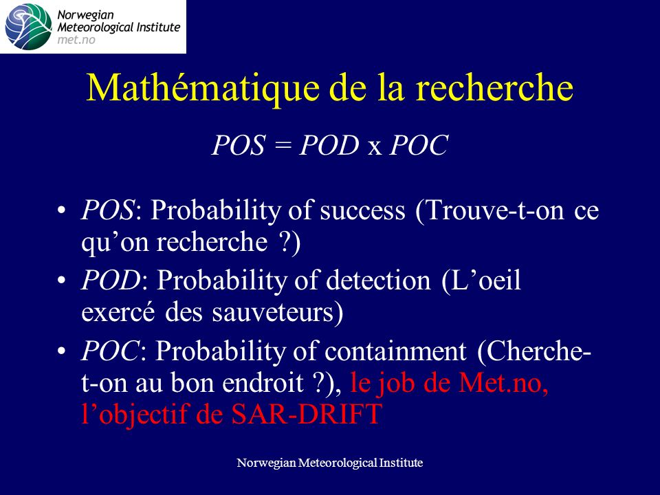 Norwegian Meteorological Institute Mathématique de la recherche POS = POD x POC POS: Probability of success (Trouve-t-on ce quon recherche ) POD: Probability of detection (Loeil exercé des sauveteurs) POC: Probability of containment (Cherche- t-on au bon endroit ), le job de Met.no, lobjectif de SAR-DRIFT