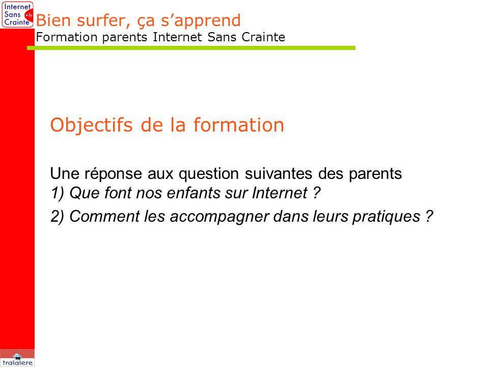Bien surfer, ça sapprend Formation parents Internet Sans Crainte Objectifs de la formation Une réponse aux question suivantes des parents 1) Que font