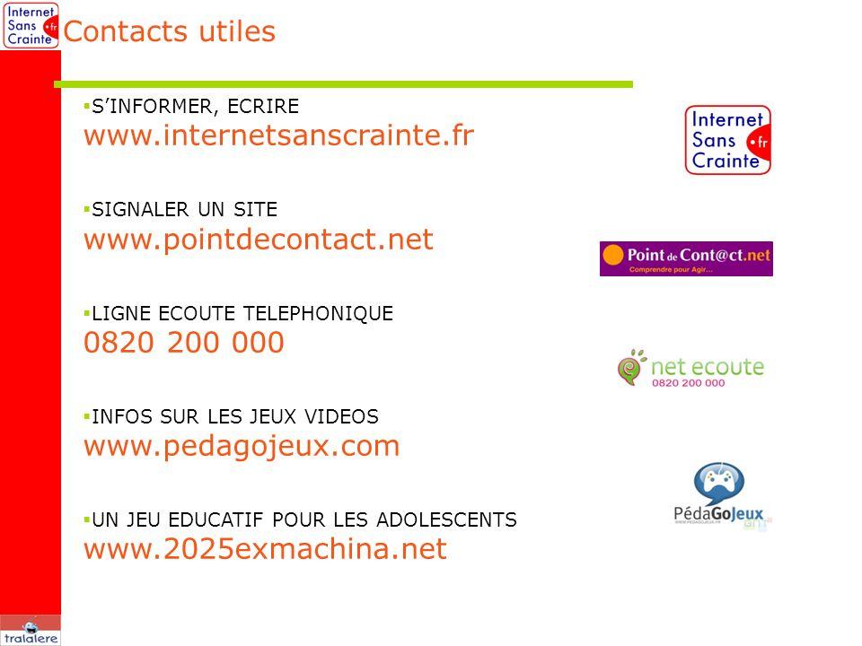 Contacts utiles SINFORMER, ECRIRE www.internetsanscrainte.fr SIGNALER UN SITE www.pointdecontact.net LIGNE ECOUTE TELEPHONIQUE 0820 200 000 INFOS SUR