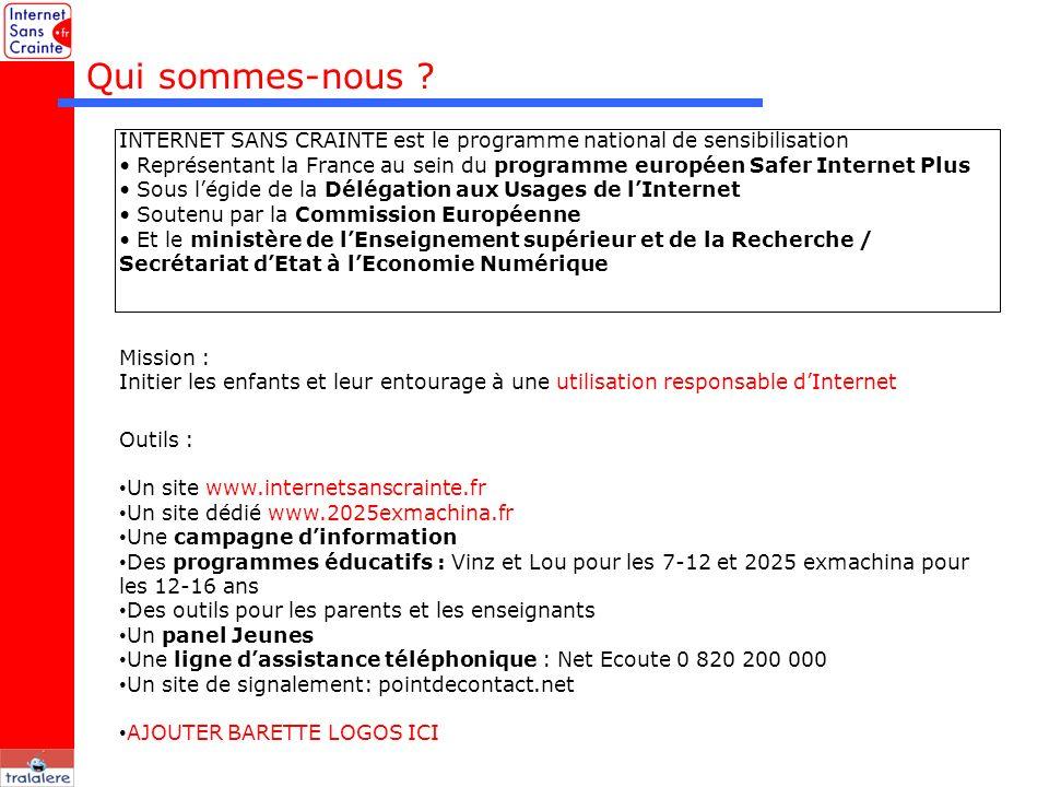 Qui sommes-nous ? Mission : Initier les enfants et leur entourage à une utilisation responsable dInternet Outils : Un site www.internetsanscrainte.fr