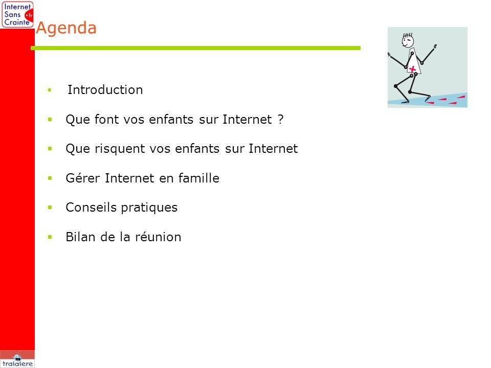 Introduction Que font vos enfants sur Internet ? Que risquent vos enfants sur Internet Gérer Internet en famille Conseils pratiques Bilan de la réunio