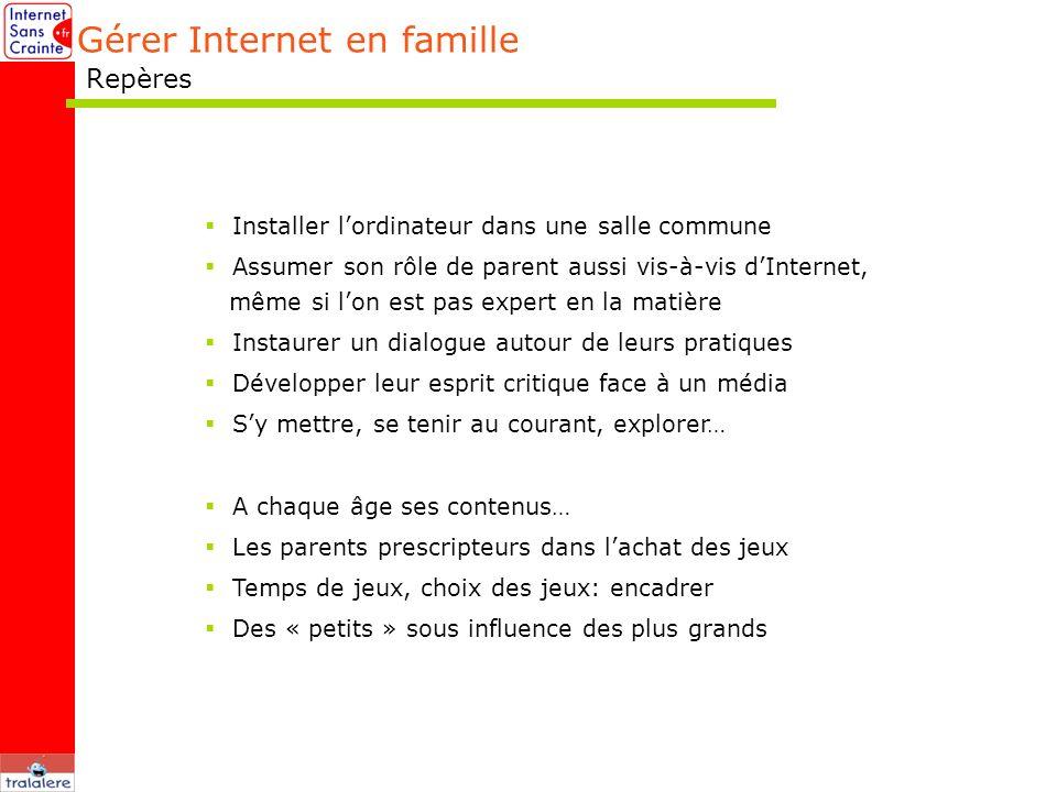Gérer Internet en famille Repères Installer lordinateur dans une salle commune Assumer son rôle de parent aussi vis-à-vis dInternet, même si lon est p
