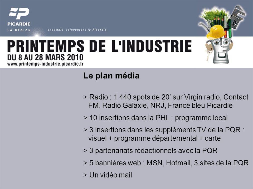 Le plan média > Radio : 1 440 spots de 20 sur Virgin radio, Contact FM, Radio Galaxie, NRJ, France bleu Picardie > 10 insertions dans la PHL : programme local > 3 insertions dans les suppléments TV de la PQR : visuel + programme départemental + carte > 3 partenariats rédactionnels avec la PQR > 5 bannières web : MSN, Hotmail, 3 sites de la PQR > Un vidéo mail