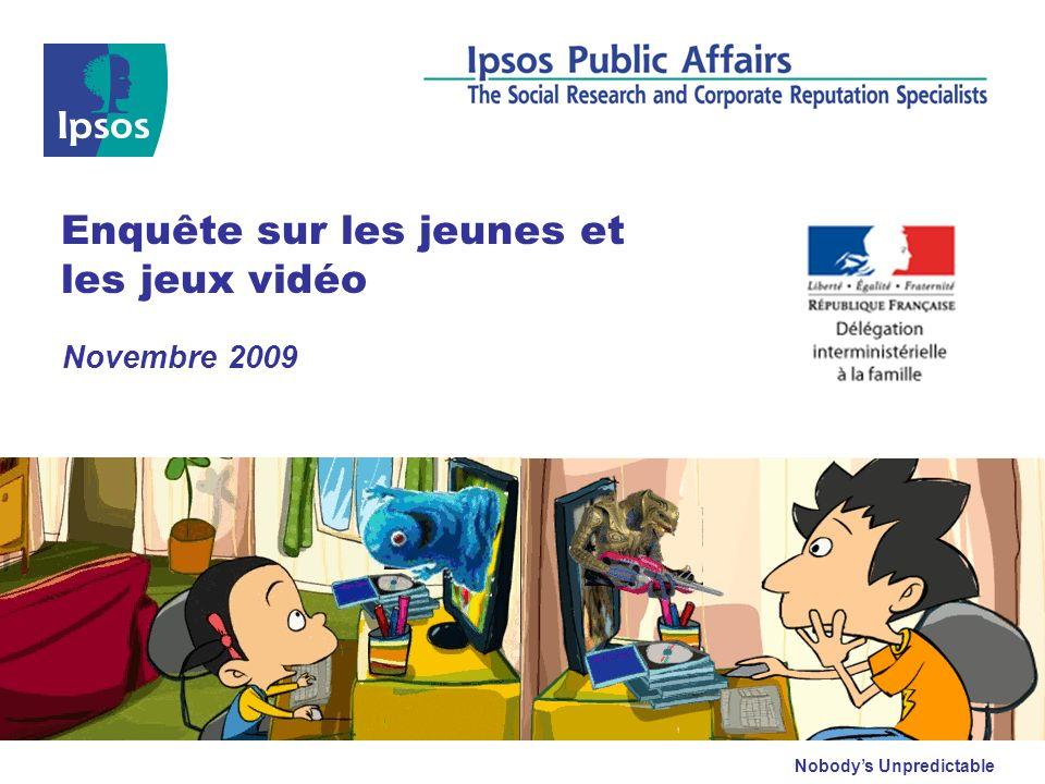 Ipsos/DIF : Enquête sur les jeunes et les jeux vidéo – Novembre 2009 © 2009 Ipsos 2 Fiche technique Sondage effectué pour :La Délégation Interministérielle à la Famille Echantillon : 404 personnes, constituant un échantillon représentatif de la population française âgée de 12 à 17 ans.