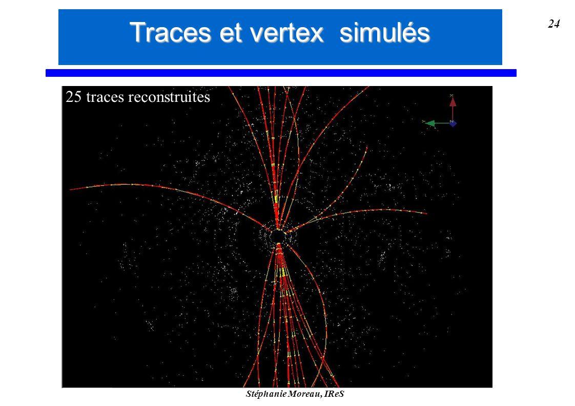 Stéphanie Moreau, IReS 24 25 traces reconstruites Traces et vertex simulés
