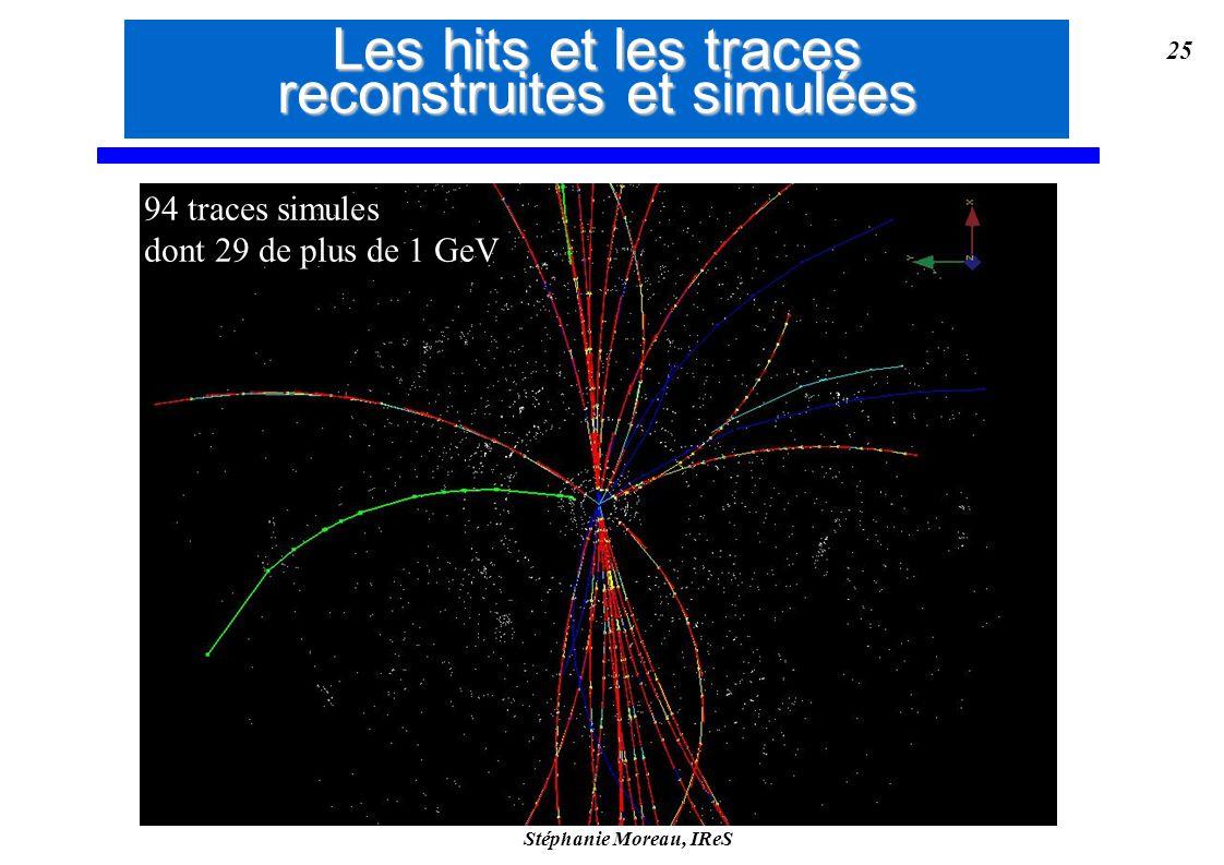 Stéphanie Moreau, IReS 25 94 traces simules dont 29 de plus de 1 GeV 94 traces simules dont 29 de plus de 1 GeV Les hits et les traces reconstruites e