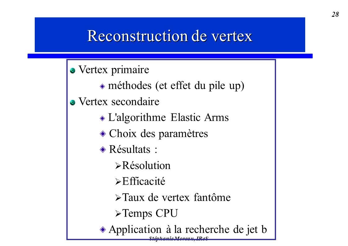 Stéphanie Moreau, IReS 28 Reconstruction de vertex Vertex primaire méthodes (et effet du pile up) Vertex secondaire L algorithme Elastic Arms Choix des paramètres Résultats : Résolution Efficacité Taux de vertex fantôme Temps CPU Application à la recherche de jet b Reconstruction de vertex