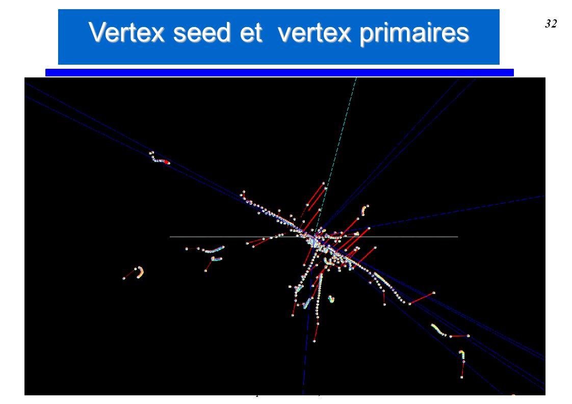 Stéphanie Moreau, IReS 32 Vertex seed et vertex primaires
