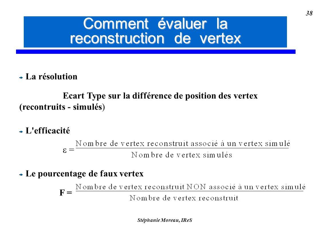 Stéphanie Moreau, IReS 38 La résolution Ecart Type sur la différence de position des vertex (recontruits - simulés) L efficacité = Le pourcentage de faux vertex F = Comment évaluer la reconstruction de vertex Comment évaluer la reconstruction des vertex