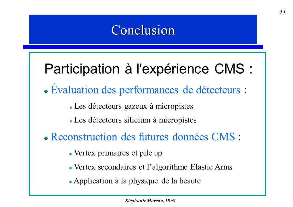 Stéphanie Moreau, IReS 44 Participation à l'expérience CMS : Évaluation des performances de détecteurs : Les détecteurs gazeux à micropistes Les détec