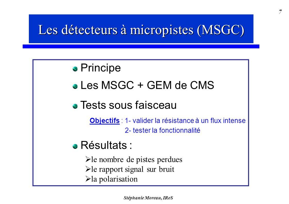 Stéphanie Moreau, IReS 7 Les détecteurs gazeux à micropistes Principe Les MSGC + GEM de CMS Tests sous faisceau Objectifs : 1- valider la résistance à un flux intense 2- tester la fonctionnalité Résultats : le nombre de pistes perdues le rapport signal sur bruit la polarisation Les détecteurs à micropistes (MSGC)