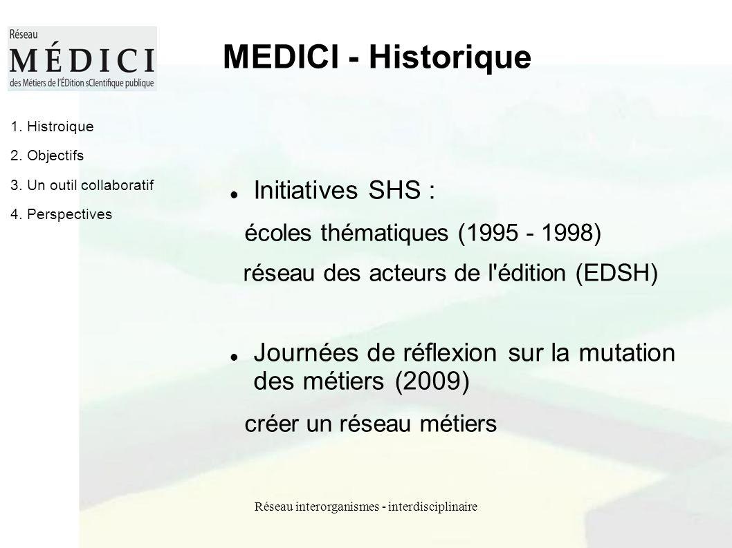 Réseau interorganismes - interdisciplinaire MEDICI - Historique Initiatives SHS : écoles thématiques (1995 - 1998) réseau des acteurs de l'édition (ED