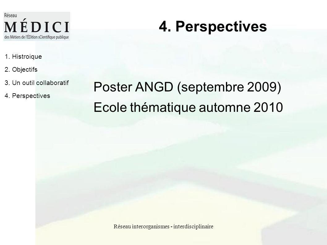 Réseau interorganismes - interdisciplinaire 4. Perspectives Poster ANGD (septembre 2009) Ecole thématique automne 2010 1. Histroique 2. Objectifs 3. U