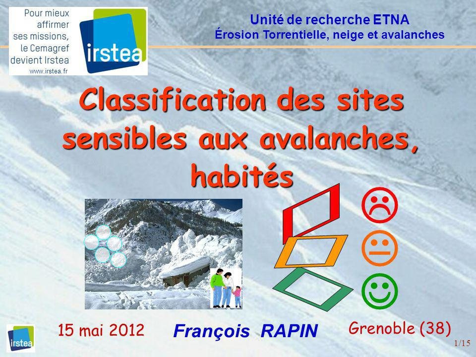 1/15 Classification des sites sensibles aux avalanches, habités François RAPIN Unité de recherche ETNA Érosion Torrentielle, neige et avalanches Greno