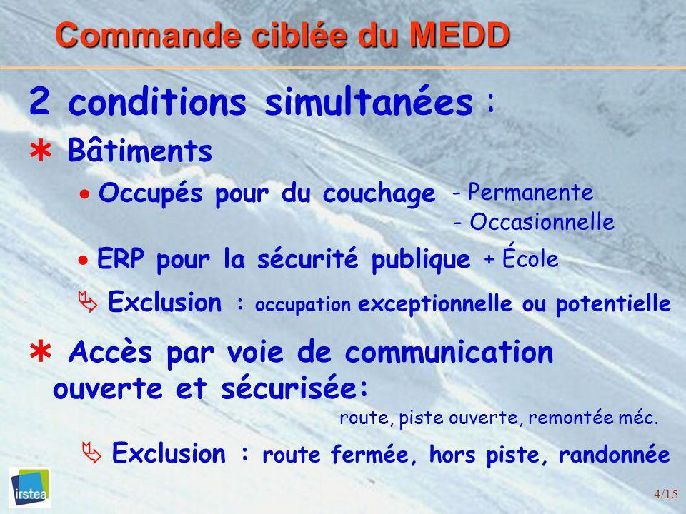 4/15 Commande ciblée du MEDD Bâtiments Accès par voie de communication ouverte et sécurisée: route, piste ouverte, remontée méc. 2 conditions simultan