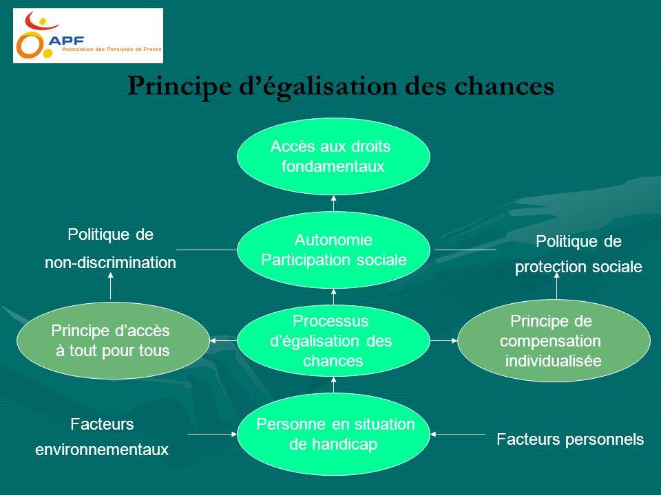 Principe dégalisation des chances Autonomie Participation sociale Personne en situation de handicap Processus dégalisation des chances Principe daccès