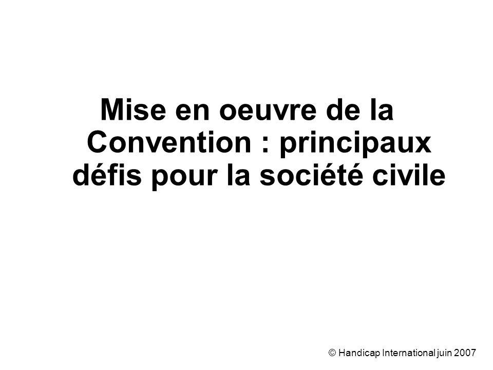 © Handicap International juin 2007 Mise en oeuvre de la Convention : principaux défis pour la société civile