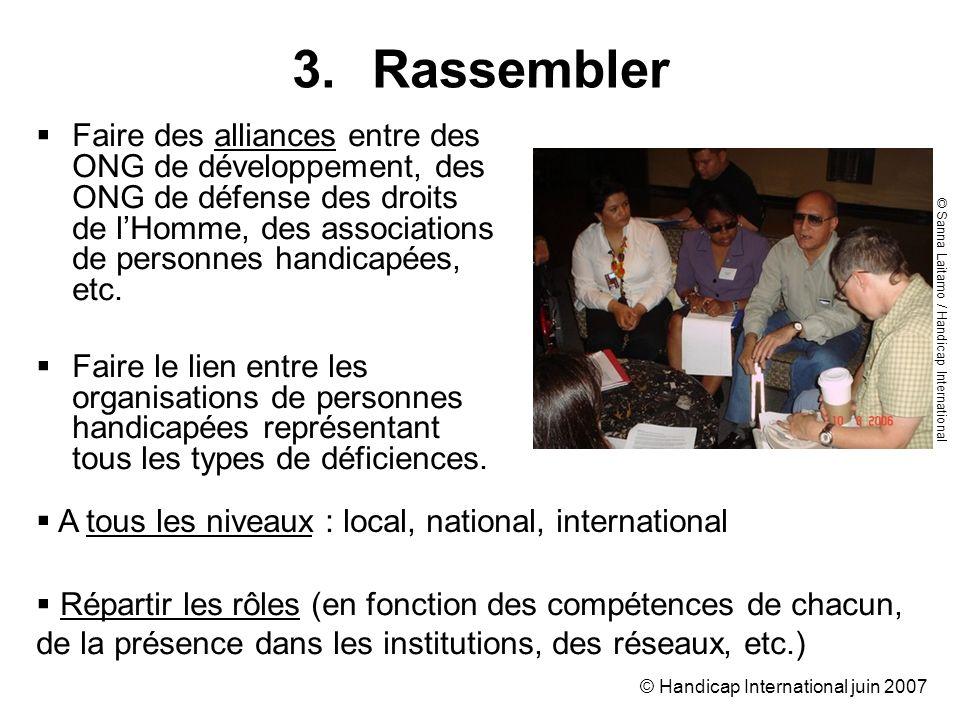 © Handicap International juin 2007 Faire des alliances entre des ONG de développement, des ONG de défense des droits de lHomme, des associations de pe