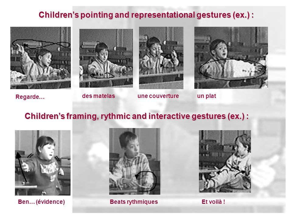 Childrens pointing and representational gestures (ex.) : Childrens framing, rythmic and interactive gestures (ex.) : Regarde… des matelasune couvertur