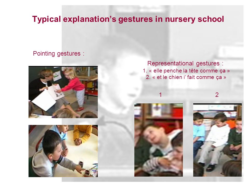 Typical explanations gestures in nursery school Pointing gestures : Representational gestures : 1. « elle penche la tête comme ça » 2. « et le chien i