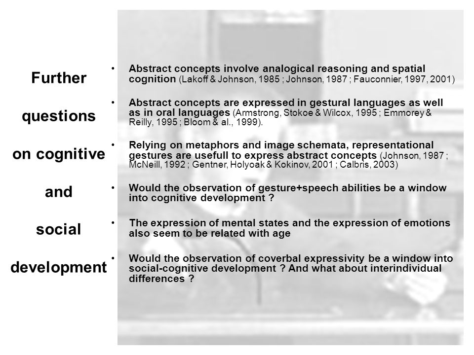 Further questions on cognitive and social development Abstract concepts involve analogical reasoning and spatial cognition (Lakoff & Johnson, 1985 ; Johnson, 1987 ; Fauconnier, 1997, 2001) Abstract concepts are expressed in gestural languages as well as in oral languages (Armstrong, Stokoe & Wilcox, 1995 ; Emmorey & Reilly, 1995 ; Bloom & al., 1999).