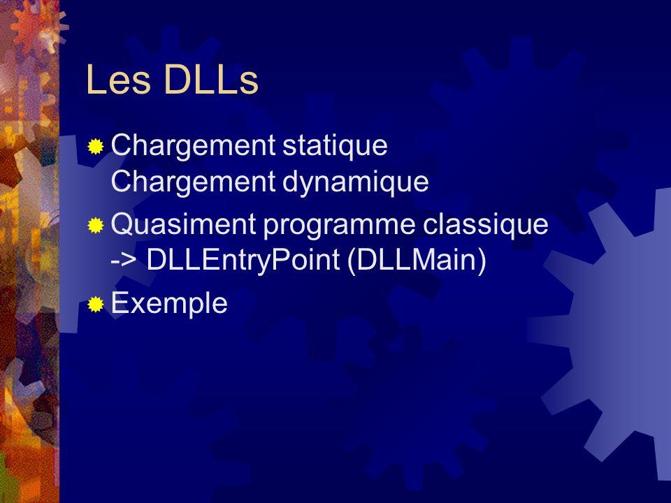 Les DLLs Chargement statique Chargement dynamique Quasiment programme classique -> DLLEntryPoint (DLLMain) Exemple