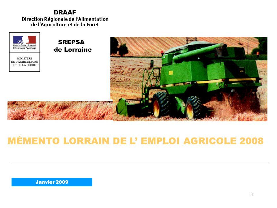 1 MÉMENTO LORRAIN DE L EMPLOI AGRICOLE 2008 DRAAF Direction Régionale de lAlimentation de lAgriculture et de la Foret SREPSA de Lorraine Janvier 2009