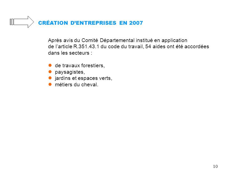 10 CRÉATION DENTREPRISES EN 2007 Après avis du Comité Départemental institué en application de larticle R.351.43.1 du code du travail, 54 aides ont ét