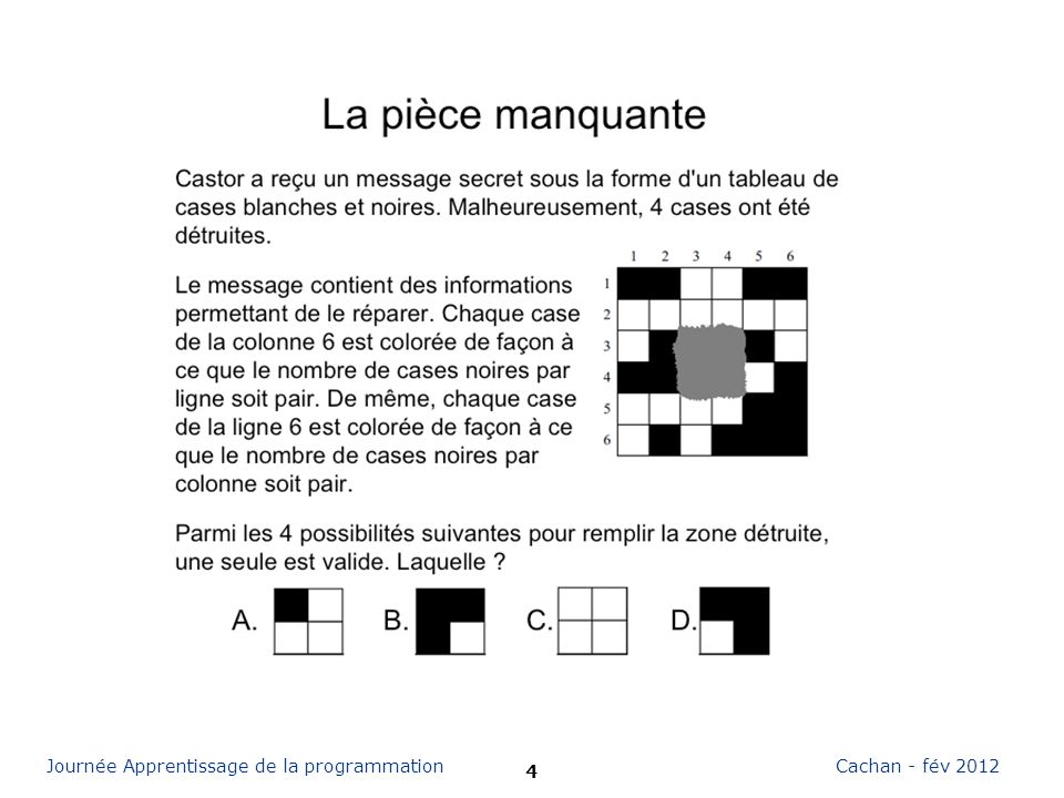 15 Cachan - fév 2012Journée Apprentissage de la programmation Merci francoise.tort@ens-cachan.fr