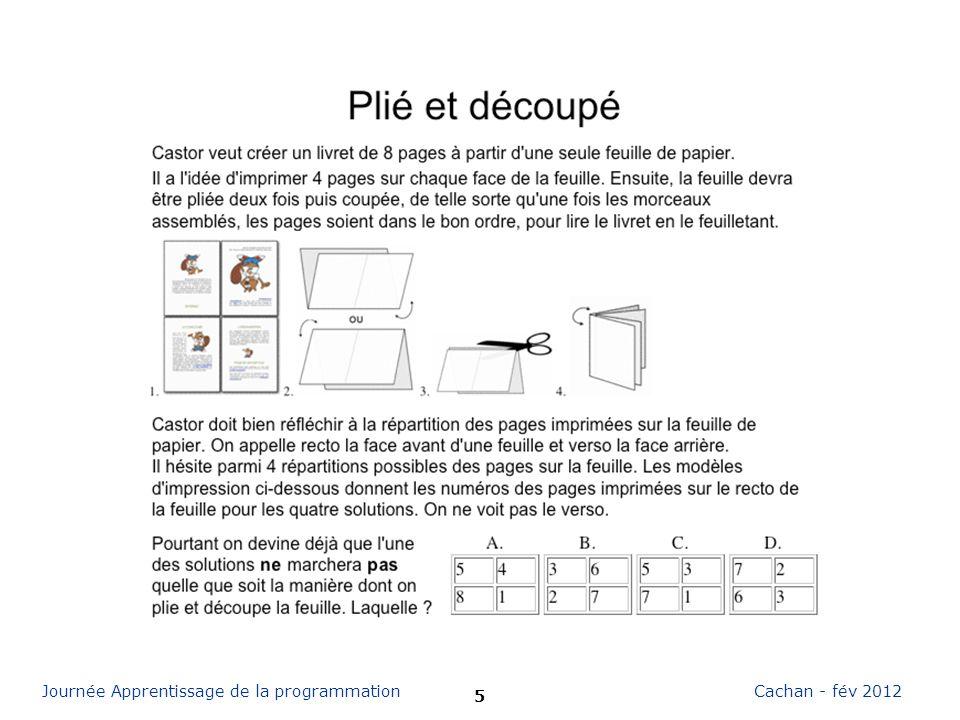 16 Cachan - fév 2012Journée Apprentissage de la programmation Cest de linformatique « Les relations dordre ont souvent un rôle important dans la manipulation de données informatique.