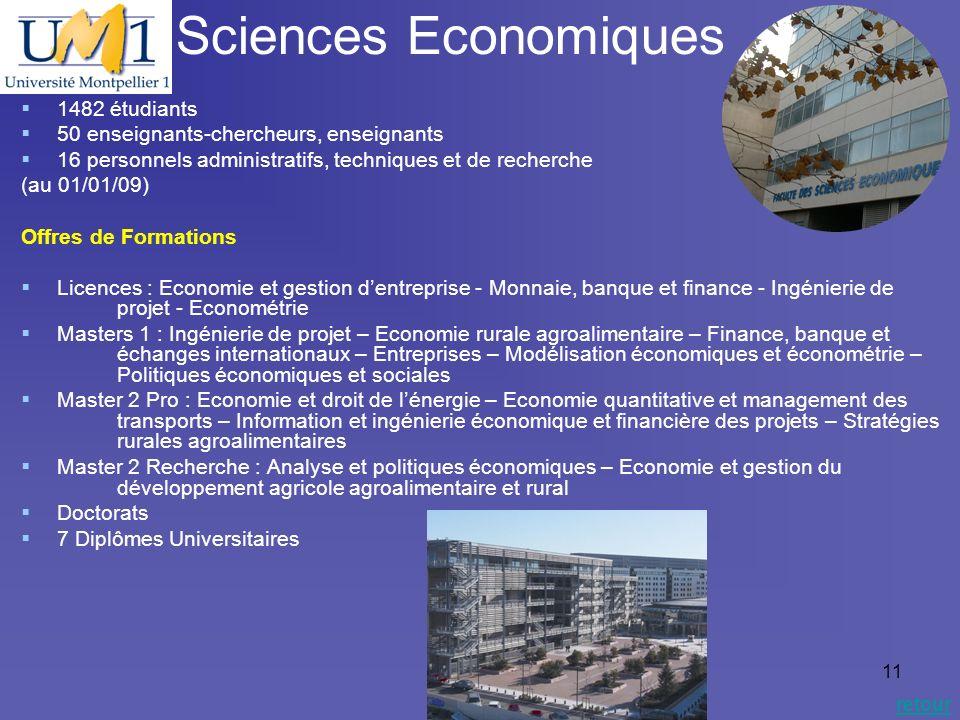 19/10/0911 Sciences Economiques retour 1482 étudiants 50 enseignants-chercheurs, enseignants 16 personnels administratifs, techniques et de recherche