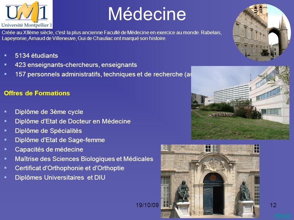 19/10/0912 Médecine Créée au XIIème siècle, c'est la plus ancienne Faculté de Médecine en exercice au monde. Rabelais, Lapeyronie, Arnaud de Villeneuv