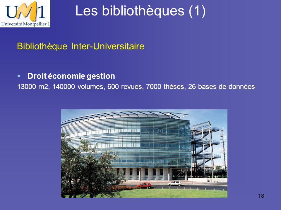 19/10/0918 Les bibliothèques (1) Bibliothèque Inter-Universitaire Droit économie gestion 13000 m2, 140000 volumes, 600 revues, 7000 thèses, 26 bases d