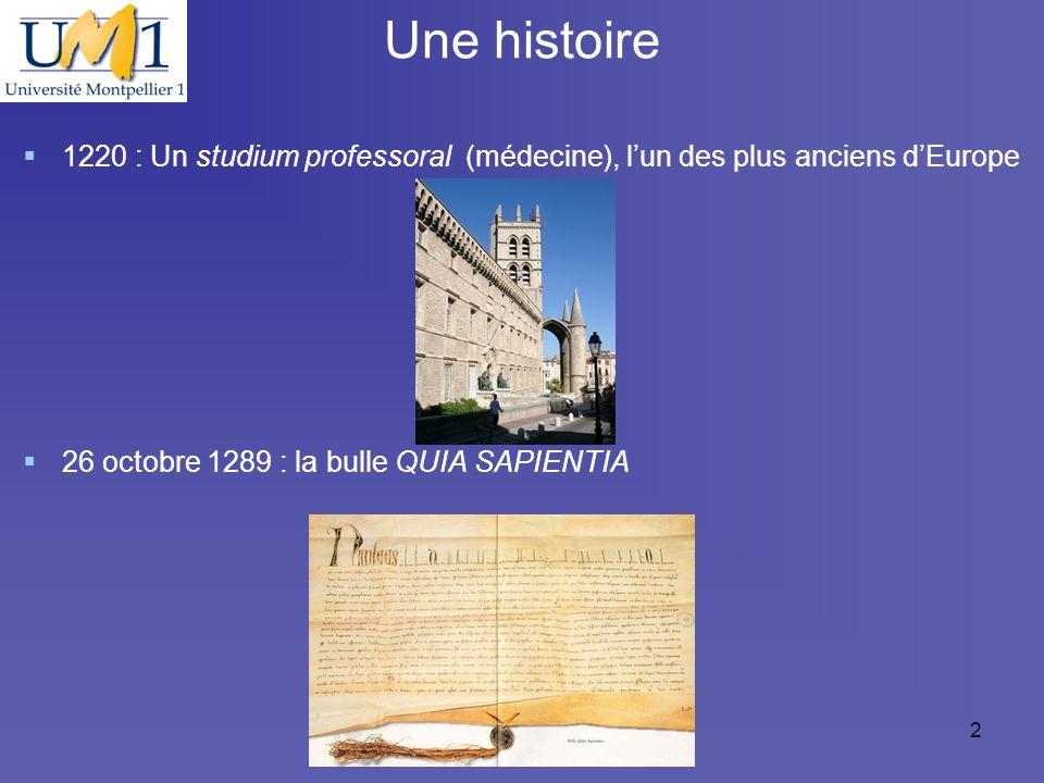 19/10/092 Une histoire 1220 : Un studium professoral (médecine), lun des plus anciens dEurope 26 octobre 1289 : la bulle QUIA SAPIENTIA