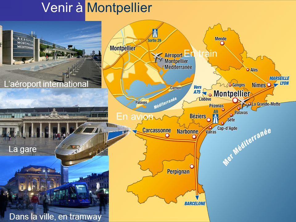 19/10/0921 Venir à Montpellier En train En avion Dans la ville, en tramway La gare Laéroport international