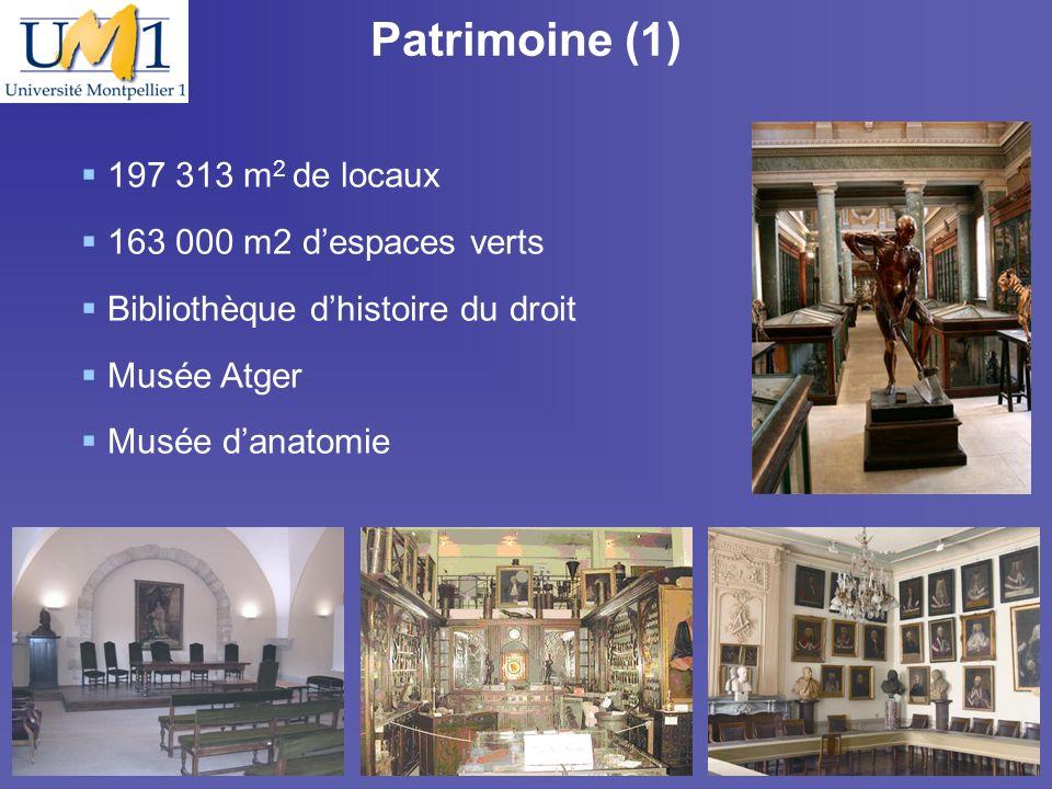 19/10/096 Patrimoine (1) 197 313 m 2 de locaux 163 000 m2 despaces verts Bibliothèque dhistoire du droit Musée Atger Musée danatomie