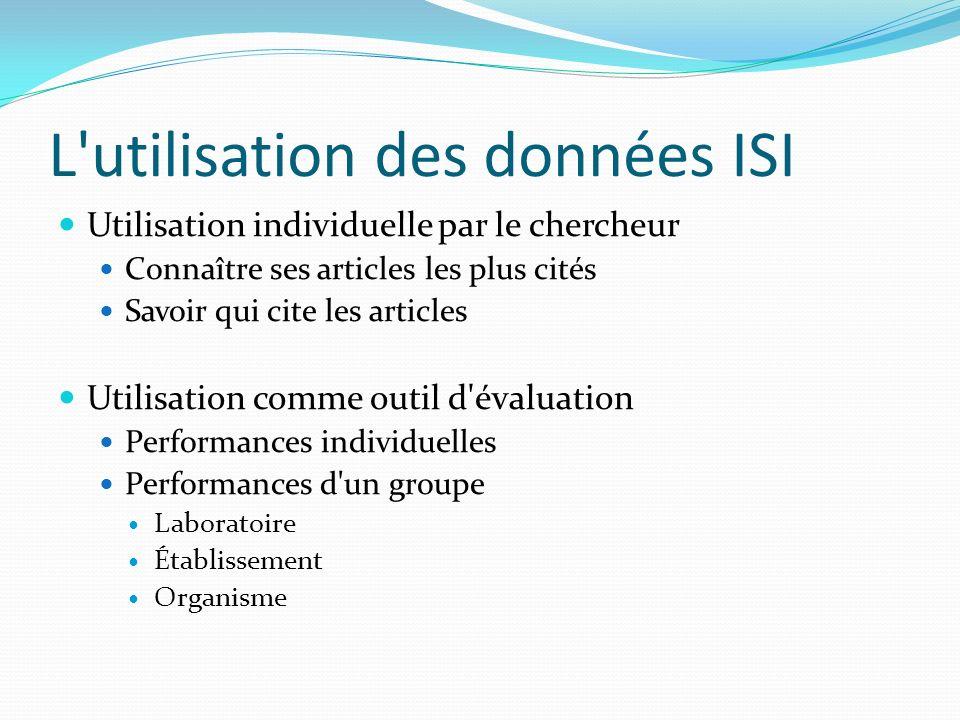 L'utilisation des données ISI Utilisation individuelle par le chercheur Connaître ses articles les plus cités Savoir qui cite les articles Utilisation