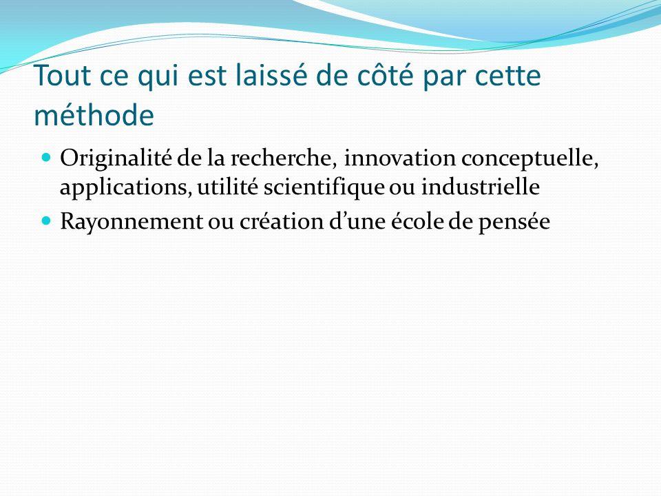 Tout ce qui est laissé de côté par cette méthode Originalité de la recherche, innovation conceptuelle, applications, utilité scientifique ou industrie