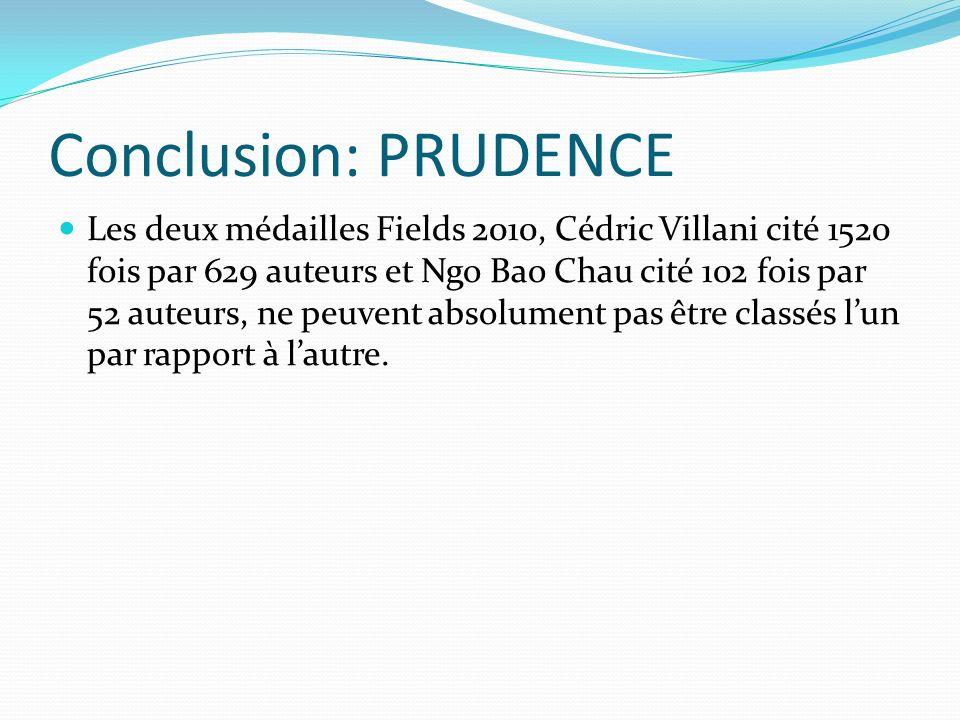 Conclusion: PRUDENCE Les deux médailles Fields 2010, Cédric Villani cité 1520 fois par 629 auteurs et Ngo Bao Chau cité 102 fois par 52 auteurs, ne pe