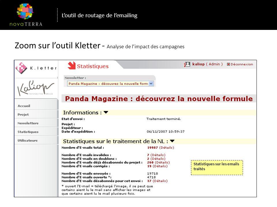 Zoom sur loutil Kletter - Analyse de limpact des campagnes Ex de campagne réalisée pour le WWF / Panda Magazine Statistiques sur les liens, automatiquement identifiés lors de la programmation de l expédition Loutil de routage de lemailing